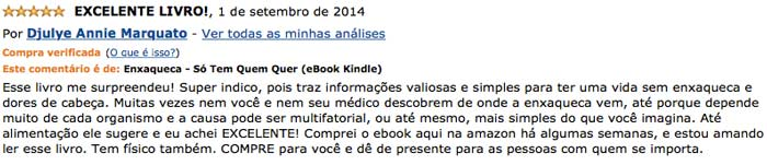Depoimento de Djulye no site da Amazon
