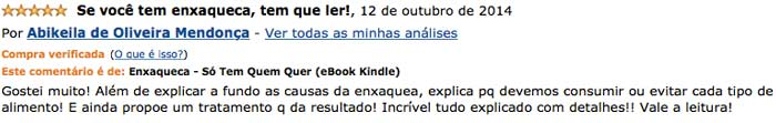 Depoimento de Abikeila no site da Amazon
