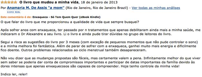Depoimento de Anamaria no site da Amazon